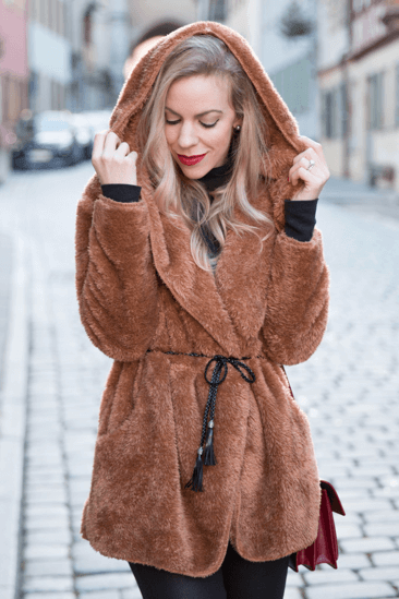Brown trench faux fur coat
