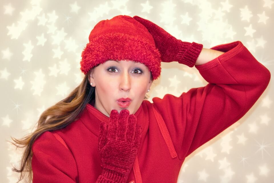 Woman in red winter outfit