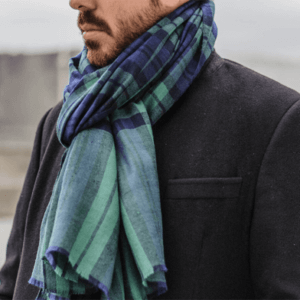 Man wearing loop through scarf