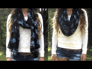 Stylish scarf turning into an infinity scarf