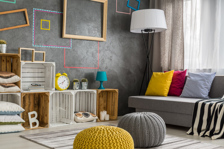 Upcycled Pallet Crates Create A Vintage Look For This Living Space